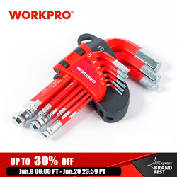 WORKPRO 9PC Short Arm Ball Point Key Set Hex Key Wrenches Allen Key Socket Spanner For bicycle Repair Tool Set