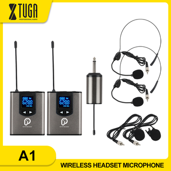 UHF Wireless System with Headset Mic/Lavalier Lapel Mic,Dual Bodypack Transmitters and One Mini Rechargeable Receiver 1/4Output xtuga uhf wireless lavalier lapel microphone system live recording mic with rechargeable transmitter