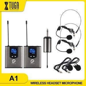 """Image 1 - Uhfワイヤレスシステムとヘッドセットマイク/ラベリアラペルマイクマイクシステム、デュアルレスボディパックトランスミッターと1ミニ充電式受信機1/4 """"出力"""