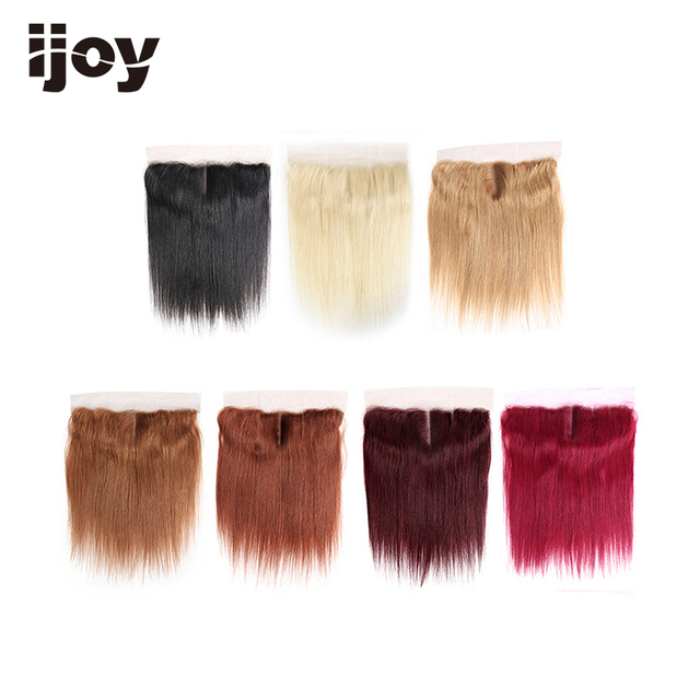 """Human Hair With 4x13 Lace Frontal #1B/4/27/30/33/99J/Burgundy 8"""" 20"""" M Non Remy Straight Closure Brazilian Hair Extension IJOY"""