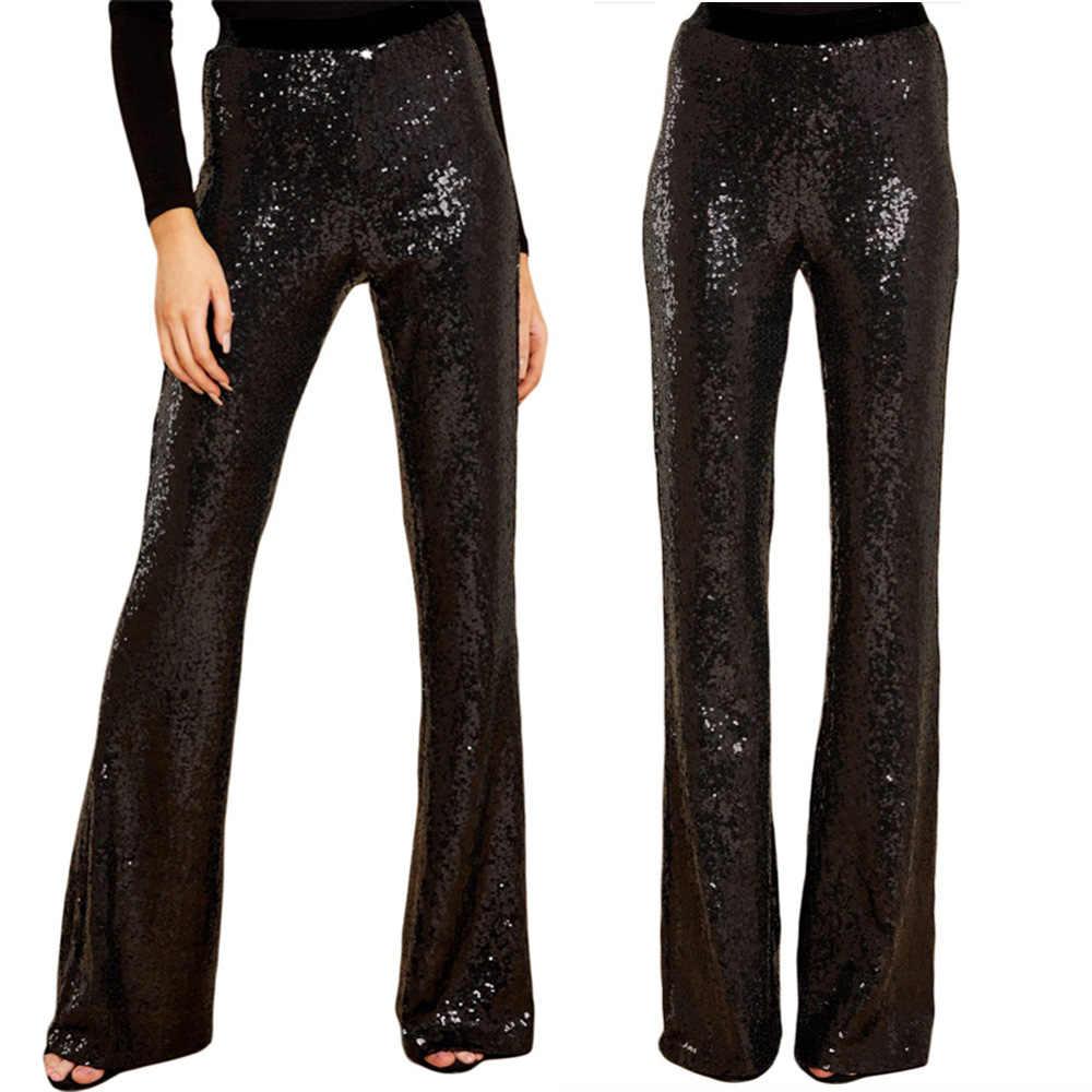 Joinelse gümüş kadın parti pantolon yüksek bel Femme geniş bacak pantolon Ombre pullu çan dipleri köpüklü uzun pantolon bayanlar pantolon