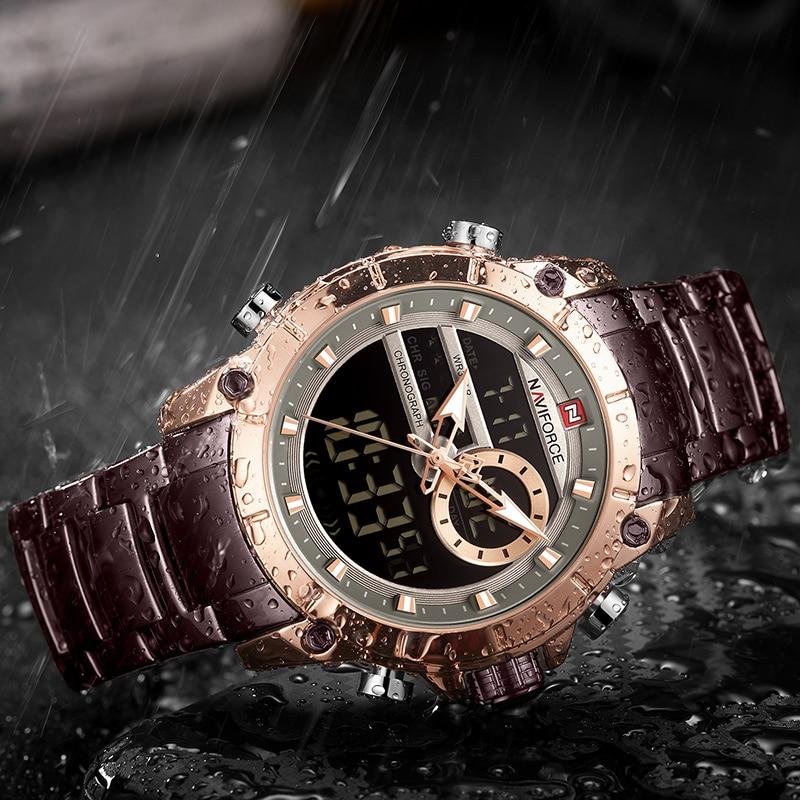Image 5 - NAVIFORCE Men Watch Top Luxury Brand Men's  Sports Military Watches Full Steel Waterproof Quartz Digital Clock Relogio Masculino-in Quartz Watches from Watches