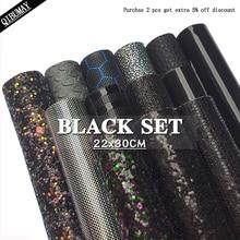 Простыни QIBU из искусственной кожи черного цвета с блестками, 22*30 см, Размер A4, «сделай сам», аксессуары для волос, бант, материалы для сумок
