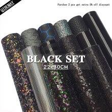 QIBU – tissu à paillettes noires, feuilles de Faux cuir texturées, taille A4, bricolage, boucle d'oreille, accessoires pour nœuds de cheveux, matériaux de sac à main, 22x30cm