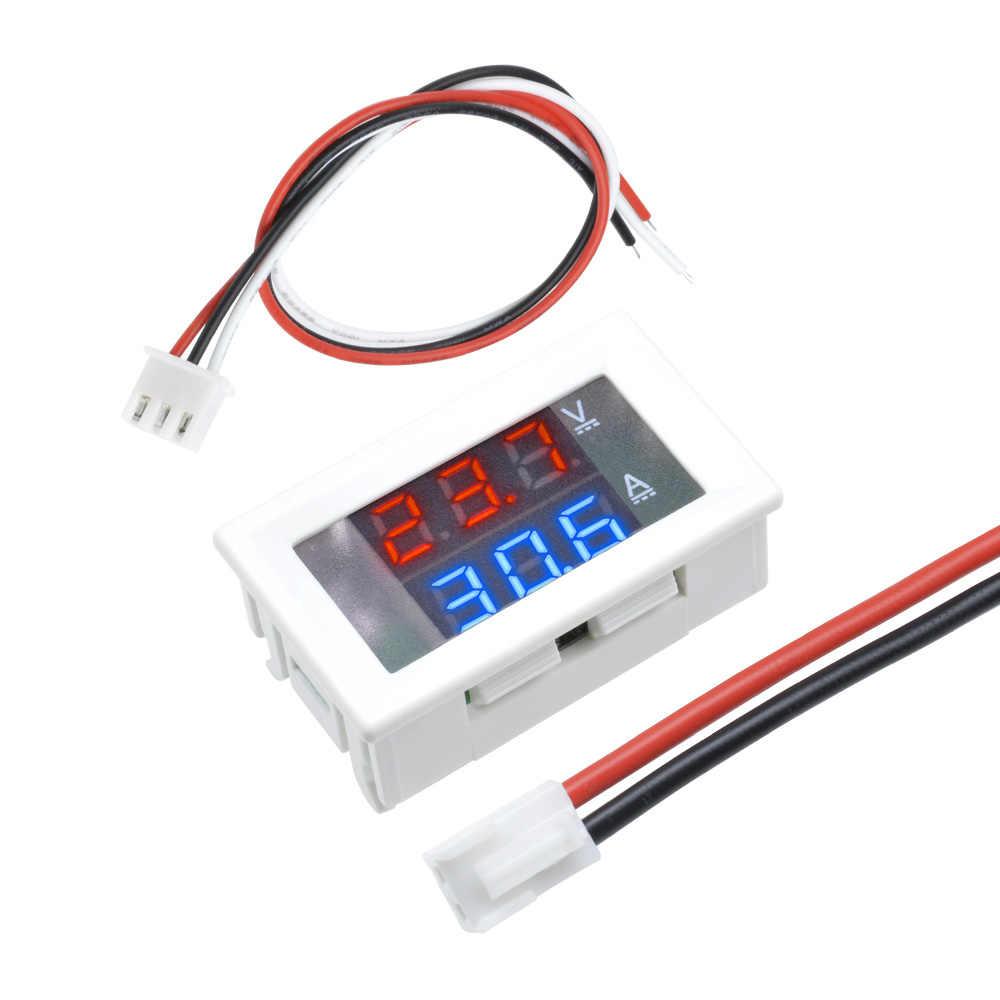 "Pantalla LED Dual Mini voltímetro Digital amperímetro de CC 100V 10A Panel amperios voltímetro de corriente de voltaje voltímetro probador 0,56 ""caja blanca/negra"