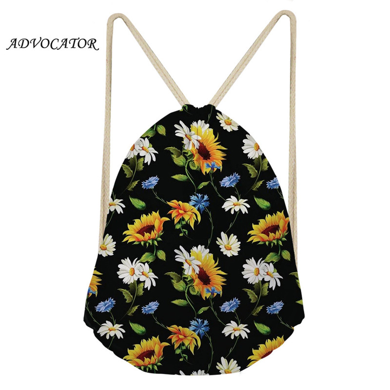 Man Women Polyester String Drawstring Back Pack Sumflowers Printing Cinch Gym Tote Bag School Sport Bag Mochila Feminina