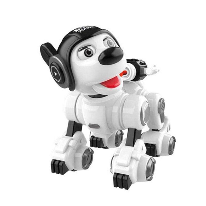 Oyuncaklar ve Hobi Ürünleri'ten RC Robotlar ve Hayvanlar'de FBIL kablosuz uzaktan kumandalı robot köpek RC köpek robotik oyuncaklar temas algılama akıllı köpek yanıp sönen Sing dans Mini Pet robot title=
