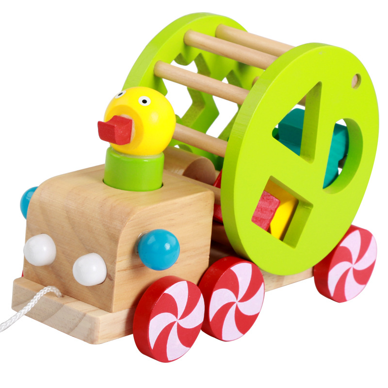 Wooden Toys Children'S Educational Early Education Learner Multi-functional Animal Little Duck Trailer
