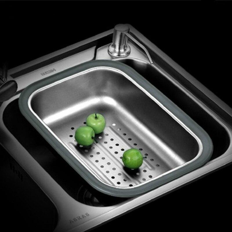 Stainless Steel Sink Drain Basin Dish Drain Basket Fruit Vegetable Dish Basket Sink Sink Accessories   WJB32713