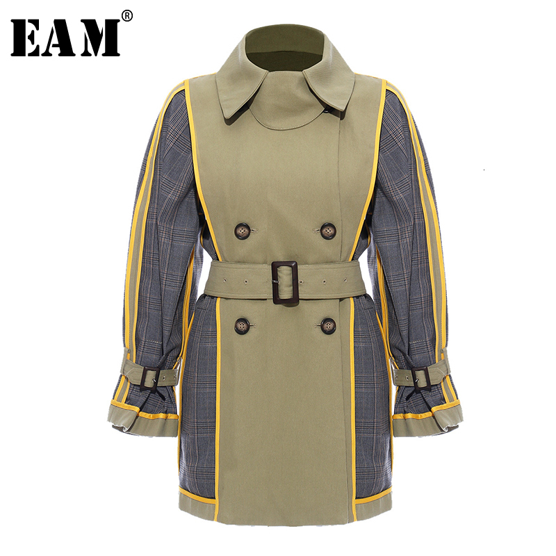 [EAM] Women Plaid Split Both Side Wear Trench New Lapel Long Sleeve Loose Fit Windbreaker Fashion Tide Autumn Winter 2019 1H8470