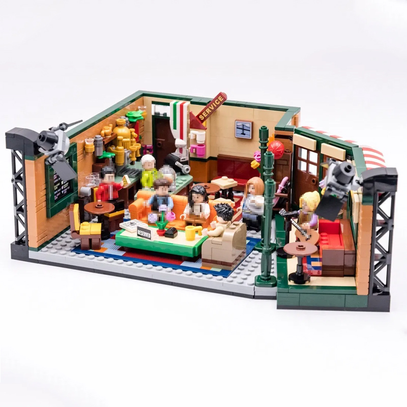 New Classic TV Ideas American Drama Friends Central Perk Cafe Fit Model Building Block Bricks 21319 Toy Gift With LED Light image