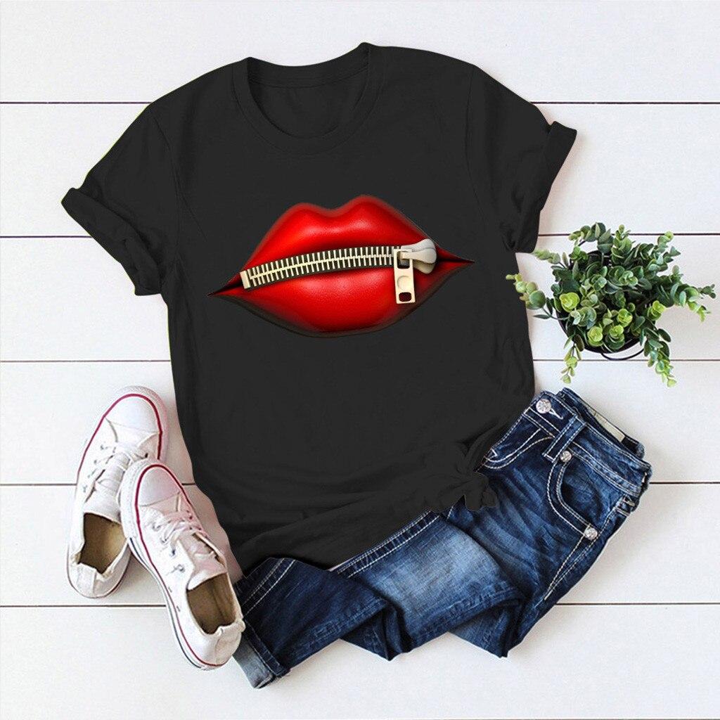 Модные футболки с графическим принтом для женщин, женская Повседневная футболка с коротким рукавом на молнии и 3D принтом губ, забавная футболка с круглым вырезом, Harajuku, сексуальные топы, Camiseta, новинка Футболки      АлиЭкспресс
