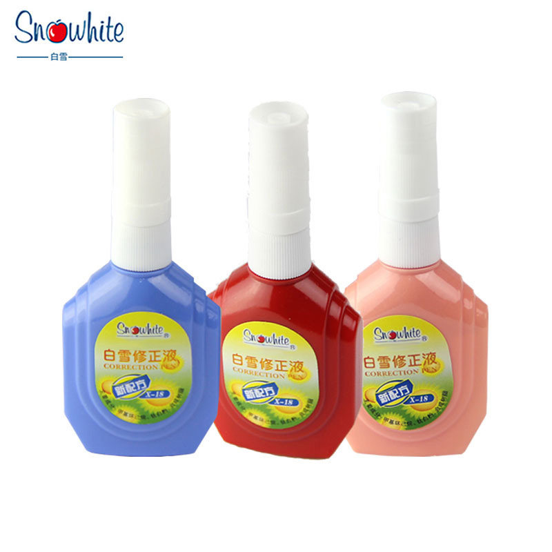 Snow White Correction Liquid  Quick-drying Pen Student Correction Fluid White Seamless X18 Learning Stationery Office Supplies