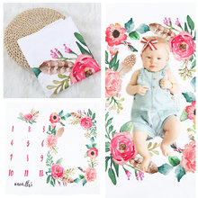 цена Newborn Baby Monthly Growth Milestone Blanket Flower Background Cloth Shooting Photo Bedding Wrap Photography Props