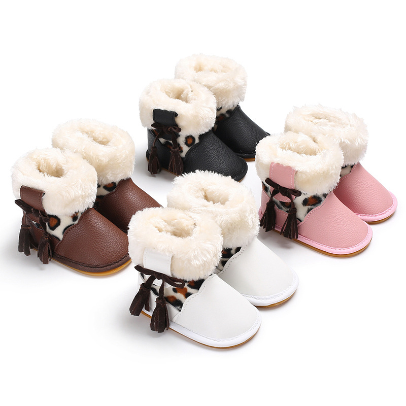PU Baby Girls Shoes Winter Warm Plus Velvet Newborn Infant PU Leather Boots Leopard Ankle Boot Bowknot Toddler Baby Shoes