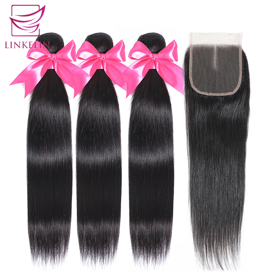 LINKELIN HAIR Peruvian Straight Hair Bundles With Closure Remy Human Hair Bundles With Closure 3 Bundles With Closure