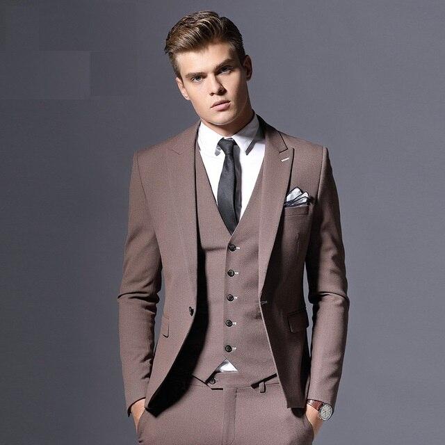 Slim Fit Men's Party Causal Tailored Tuxedo Suit Costume Homme Groom Businesss Men Suit Three Pieces Set Jacket Vest Pants