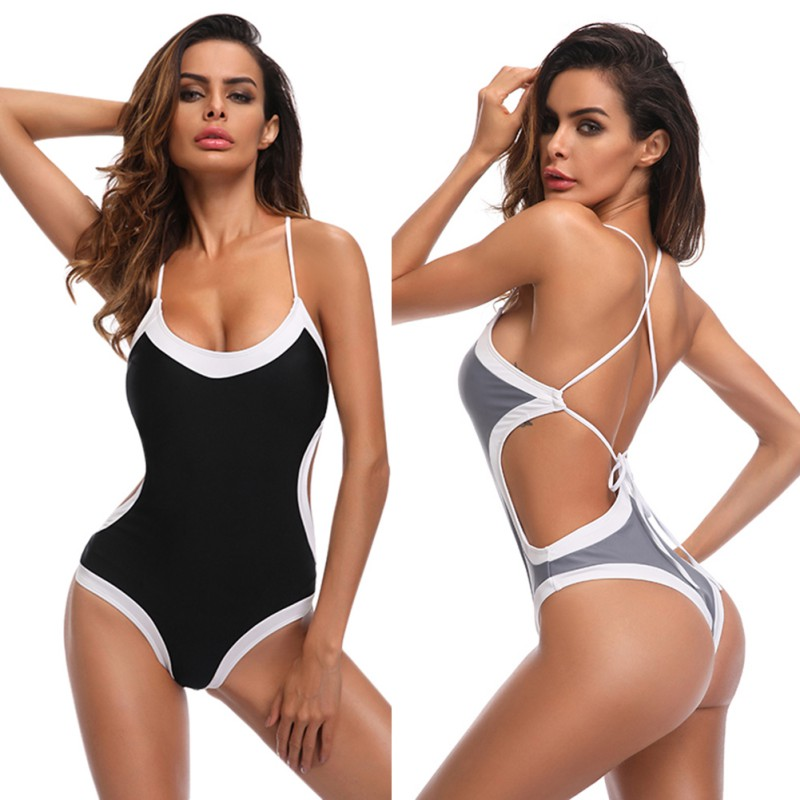 White Border Backless Bodysuit