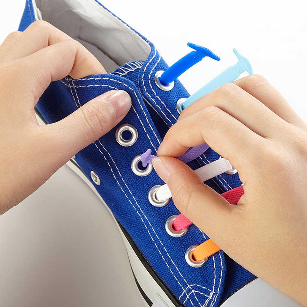 16 adet/grup silikon ayakabı elastik ayakkabı danteller özel hiçbir kravat ayakkabı bağı erkekler kadınlar bağlama kauçuk Zapatillas Sneaker aksesuarları