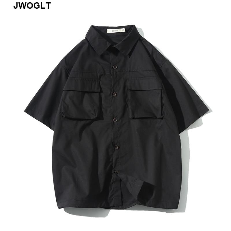 Summer Streetwear Fashion Harajuku Mulit Pocket Short Sleeve 100% Cotton Cargo Black Korean Shirts 4XL 5XL