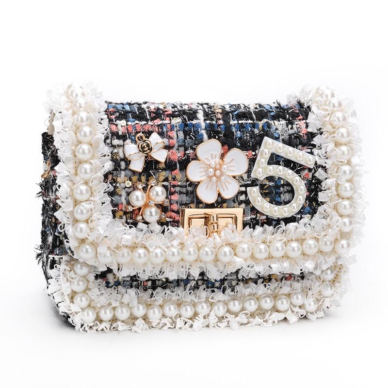 グループ  上の 韓国スタイル子供のウールクロスかわいいキッドガールズプリンセス財布とハンドバッグベビーパールクラッチ財布