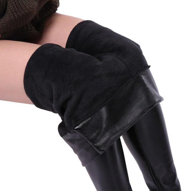 SALSPOR 5XL Plus Size Women Winter Velet Trousers Femme Black Warm Leather Nine pants Ladies Sexy High Waist Slim PU Leggins 1