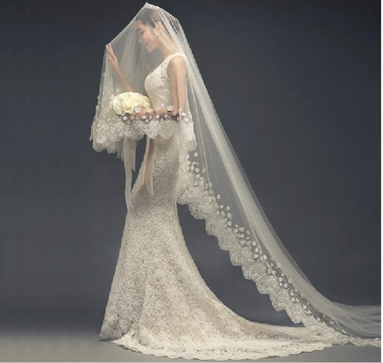 New 3m Soft Gauze Lace Bridal Veil Wholesale Wedding Dress Accessories White Lace Bridal Veil