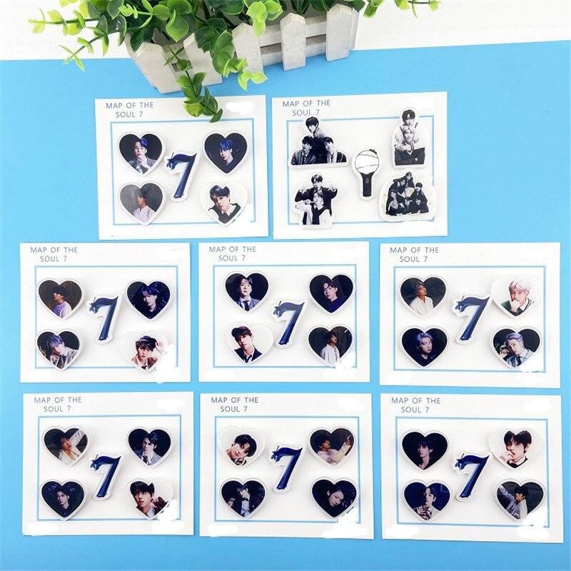 KPOP Boys Map Of The Soul 7 Brooches Acrylic 5 Pcs/set Pins JUNG KOOK JIMIN JIN SUGA J-HOPE Fans Bag Decor Badge Toy Gift