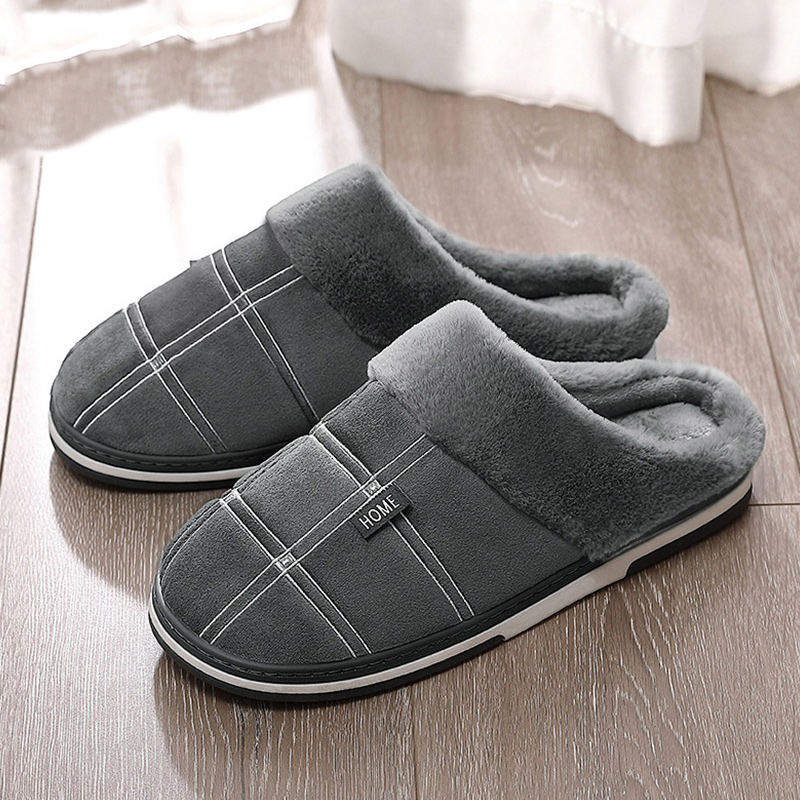 Men's Slippers Winter Keep Warm Gingham Suede Short Plush Indoor Shoes For Male Non Slip Memory Foam Soft Home Fur Slippers Men