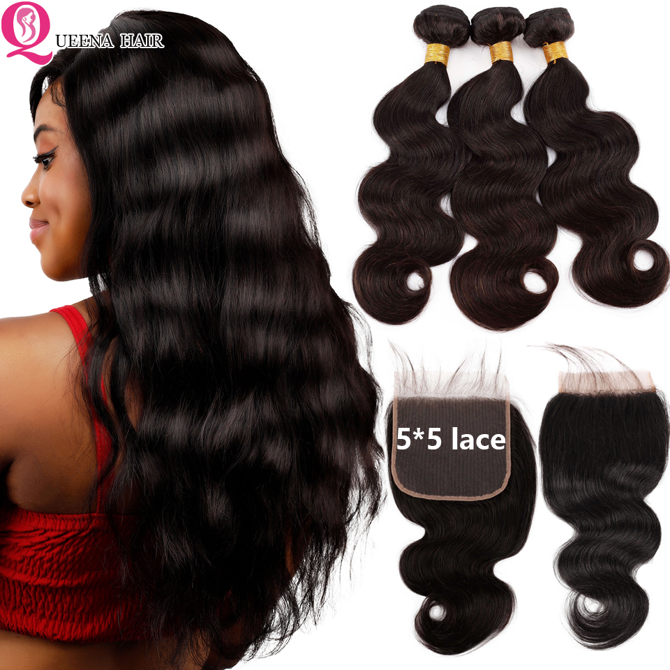 Raw Indian Hair Body Wave Bundles With 5*5 Lace Closure Remy Human Hair Bundles With Closure Pre-Plucked 3 Bundles With Closure