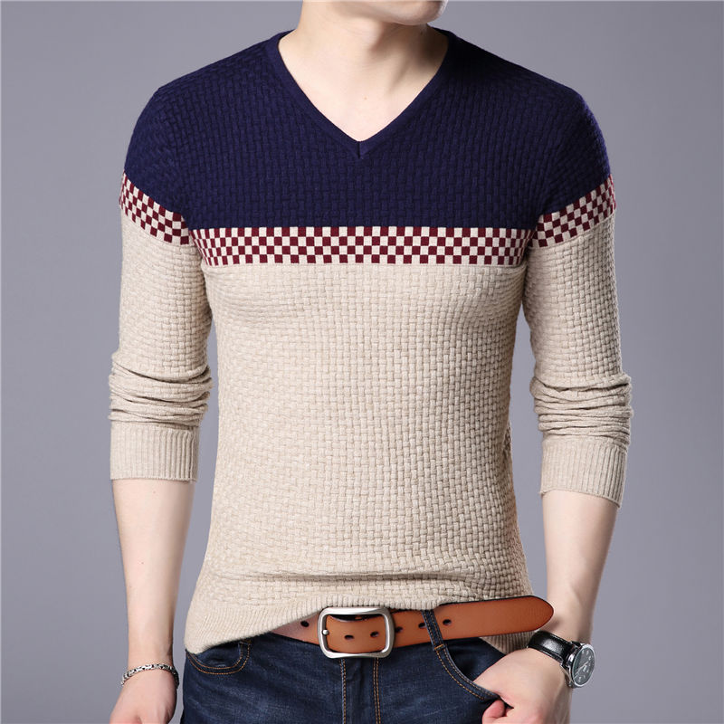 New Fashion 2019 Spring Autumn Men Wool Pullovers Men Sweaters Pullover Men Colorful Sweater V-Neck  Christmas Clothes