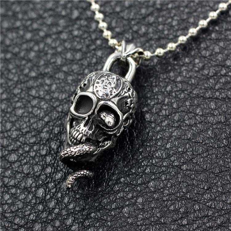 Hiphop Punk Rock Cobra Skull จี้ 100% เงินแท้ 925 สำหรับผู้หญิงผู้ชายสร้อยคอจี้ของขวัญเครื่องประดับ fine ของขวัญใหม่