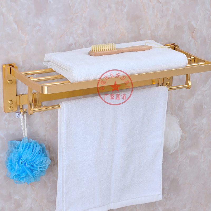 Alumimum Towel Rack Thick Large Rims Luxury Gold Color Activity Foldable Bathroom Rack Towel Rack Manufacturers Direct Selling