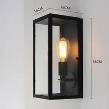 KLUZZI American European Retro Industrial Garden Aisle Corridor Lamp Glass Box Iron Art Waterproof LED Wall Lamp Lights
