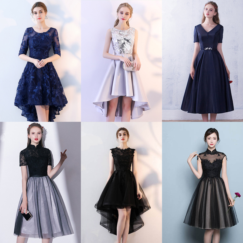 In Stock Black Stand Collar Short Sleeve Embroidery Lace Cocktail Gowns Illusion Knee Length Formal Dress LX410 More Style