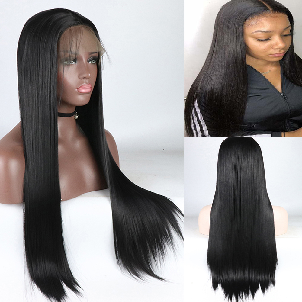 Heat Resistant Fiber Hair Synthetic Wig Mermaid Black Color Silky Straight Synthetic Lace Front Wigs For Black Women Baby Hair