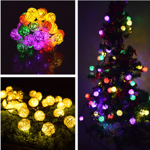 Image 2 - LED Light String 6M 30 LED Garland Solar String Lights Rattan Ball Fairy String Light For Holiday Christmas Outdoor Decoration