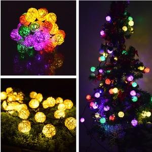 Image 2 - Ledライトストリング6メートル30 led花輪ソーラーストリングライト籐ボールフェアリーストリングライトクリスマス屋外装飾