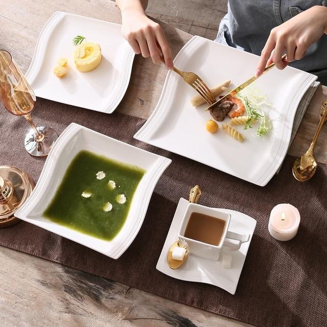 MALACASA FLORA 60-Piece White Porcelain Dinner Set with 12*Cup,Saucer,Dessert Soup Dinner Plate Dinnerware Set Service 12 Person 2