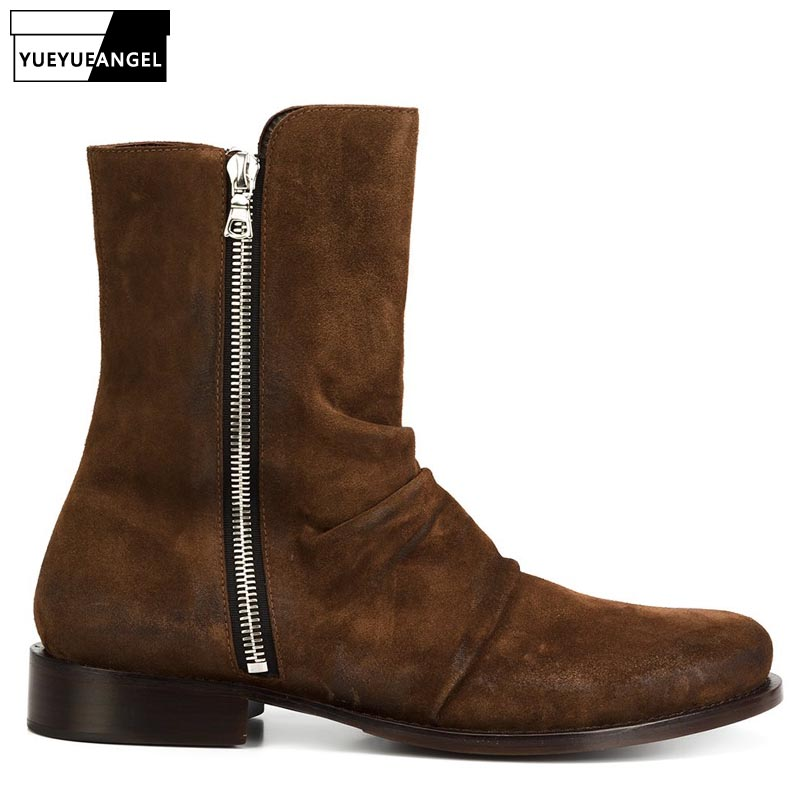 Fashion Runway Mens Suede Leather Boots High Top Mid Calf Work Safety Shoes Genuine Leather Botas Militares Riding Shoes
