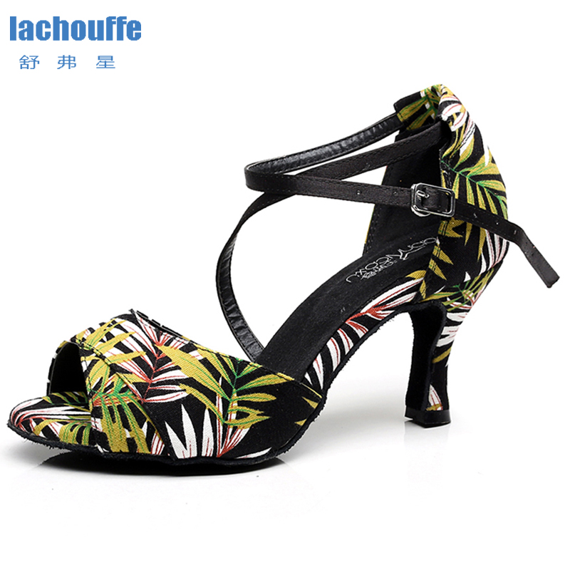 Women Latino Dancing Shoes For Woman Fashion Print Dance Shoes For Girls Soft Sole Slasa Ballroom Shoes Ladies Shoes For Tango