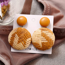 Fahsion Ear Stud Ear Clip Earrings Round Party Women Boho Bohemian Wood Bamboo Rattan Geometric Round Square Ladies Jewelry(China)