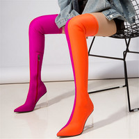 LAPOLAKA Brand Design Pointed Toe Lady Thigh High Boots Wedges High Heels Shoes Woman Party Sexy Stain Over The Knee Sock Boots