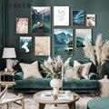 Постеры и принты в скандинавском стиле, пейзаж, постеры на стене, горы, озера, холст, картина на стену для гостиной