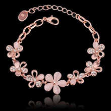 Pink Chain Opal Bracelet Flower Rose Gold Color Women Charming Eye Cats