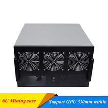 6U Mining Case USB Miner Rack GPU Riser Server Chassis Open Air Frame ATX Dual Power Supply Bit Fit ETH BTC XMR 6 Video Card new diy 63cm 36cm 33cm for 4 fans 6 8 gpu crypto currency stackable open air mining rig frame miner case etc bth steel
