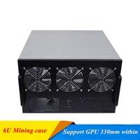 6U Mining Case USB Miner Rack GPU Riser Server Chassis Open Air Frame ATX Dual Power Supply Bit Fit ETH BTC XMR 6 Video Card