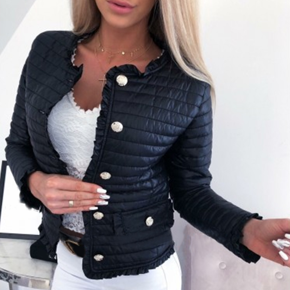 Winter Women Warm Button-down Cotton Jacket Coats Basic Jackets Female Pockets Ruffle Slim Fit Black Short Jackets D30