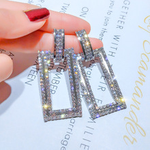 S925 Silver Needle European and American Fashion  Geometric Rectangle with  Female Temperament Long Earrings Earrings Female products new mammoth teeth women s fashion aristocratic temperament female gold plated with a hoard of s925 eardrop