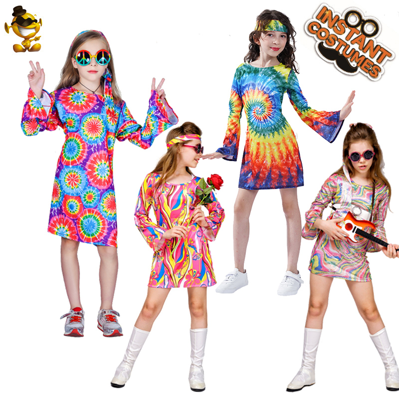 Purim  Kids Girl's Flower Hippie Dress Costume Fancy Dress Kid Holiday Carnival Party Cosplay 60s70's Hippie Costume Clothes